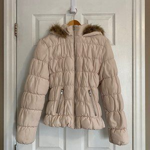 H&M White Puffer Parka Jacket